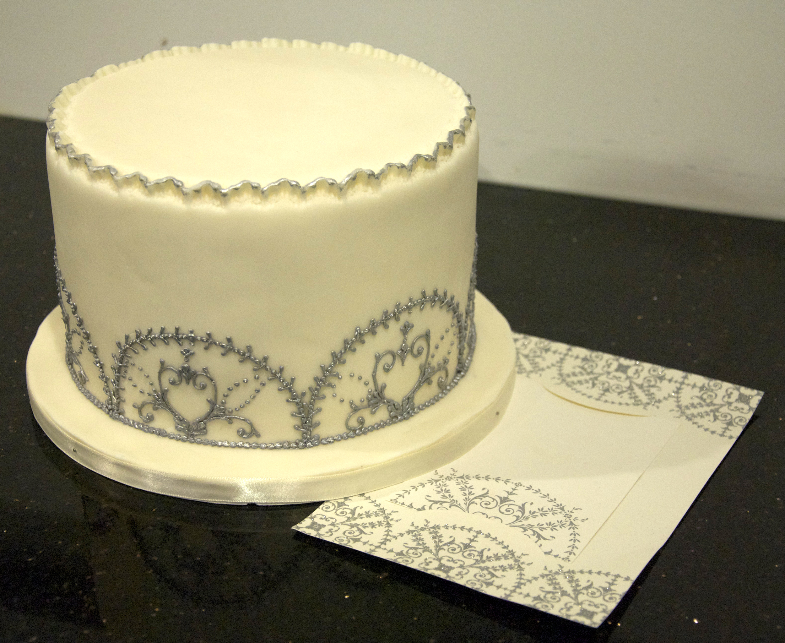 ivory-silver-winter-wedding-cake - For the Love of Cake