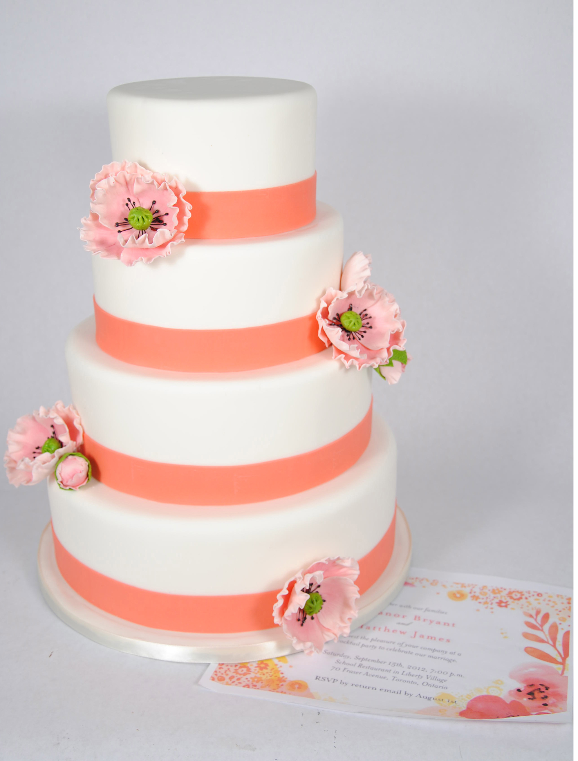 pink-poppy-wedding-cake-toronto - For the Love of Cake